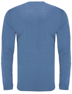 Heinrich Long Sleeve Cotton Top with Mock Insert in Cornflower Blue