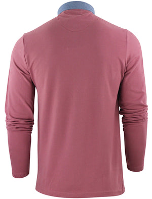 HeraH Chambray Collar Long Sleeve Polo Shirt in Dusky Pink