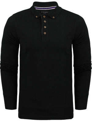 Howell Long Sleeve Polo Shirt in Black