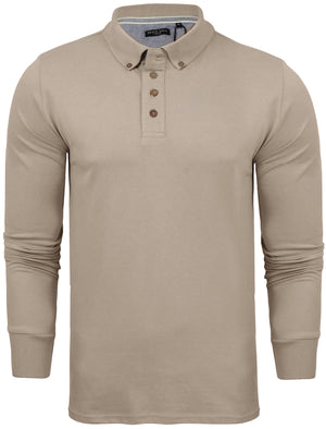 Howell Long Sleeve Polo Shirt in Stone