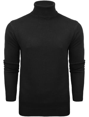 Hume Roll Neck Cotton Knitted Jumper in Black