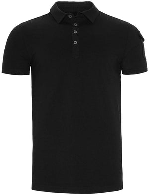 Joe Cotton Pique Polo Shirt with Military Sleeve Pocket in Black