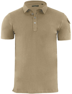 Joe Cotton Pique Polo Shirt with Military Sleeve Pocket in Mushroom
