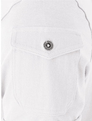 Joe Cotton Pique Polo Shirt with Military Sleeve Pocket in White