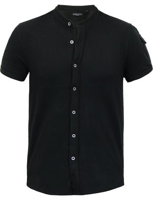 Joey Grandad Collar Button Down Pique Shirt with Sleeve Pocket in Black