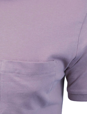 JuliusG Jersey Polo Shirt With Chest Pocket in Purple
