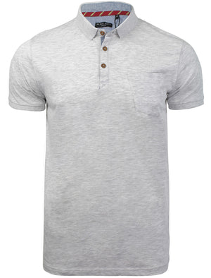 JuliusG Jersey Polo Shirt With Chest Pocket in White Grey Marl
