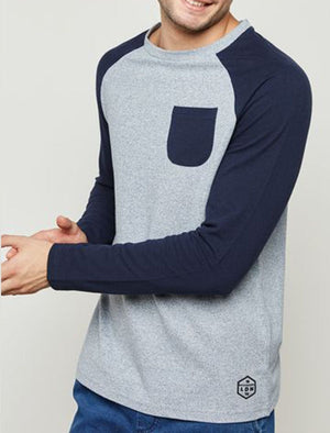 Kabuto Textured Long Sleeve Raglan Top in Navy