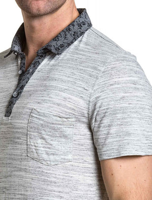 Klee Floral Collar Melange Polo Shirt in Light Grey Marl