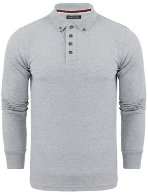 Howell Long Sleeve Polo Shirt in Light Grey Marl