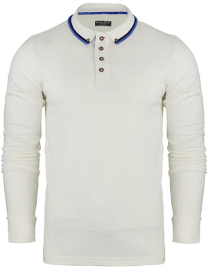 Kennedy Tipped Collar Long Sleeve Polo Shirt in Ecru