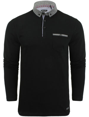 Herae Chambray Collar Long Sleeve Polo Shirt in Black