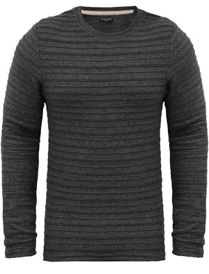 Madison Stripe Textured Long Sleeve Top in Charcoal