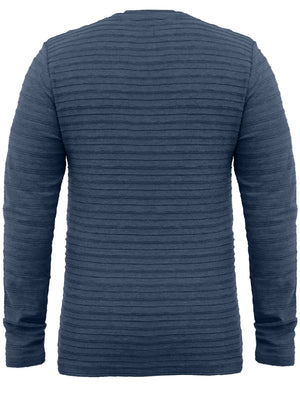 Madison Stripe Textured Long Sleeve Top in Blue