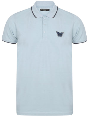 Monarch Cotton Polo Shirt with Butterfly Print in Light Blue