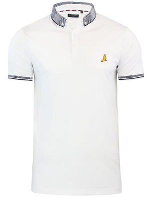 Glover Jacquard Collar Polo Shirt in White