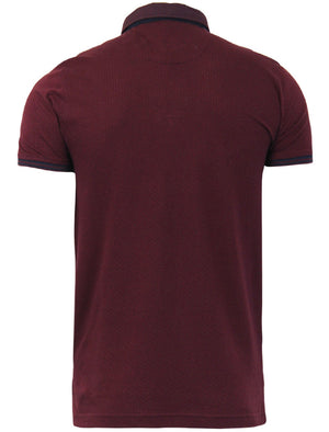 Surf Printed Collar Textured Polo Shirt in Bordeaux