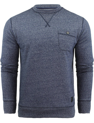 Ego Marled Sweatshirt with Chest Pocket in Blue