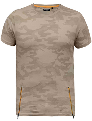 Albert Camo Print T-shirt with Lateral Zips in Sand