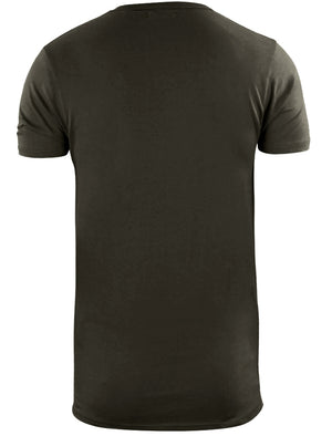 Bovary Longline T-Shirt with Camo Print Chest Pocket in Khaki