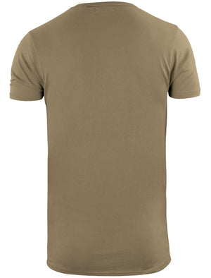 Bovary Longline T-Shirt with Camo Print Chest Pocket in Stone