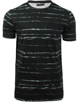 Christo Distressed Dye Effect T-Shirt with Chest Pocket in Black