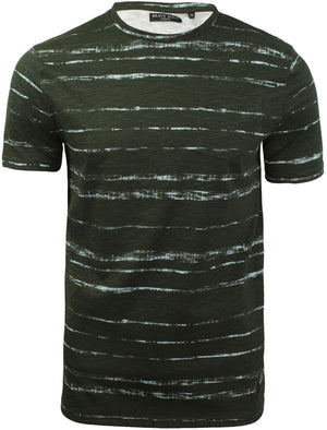 Christo Distressed Dye Effect T-Shirt with Chest Pocket in Khaki