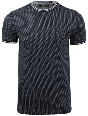 Martian Jacquard Crew Neck T-Shirt with Pocket in Navy