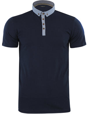 Chimerah Cotton Polo Shirt with Chambray Collar in Navy