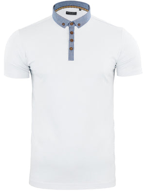 Chimerah Cotton Polo Shirt with Chambray Collar in White