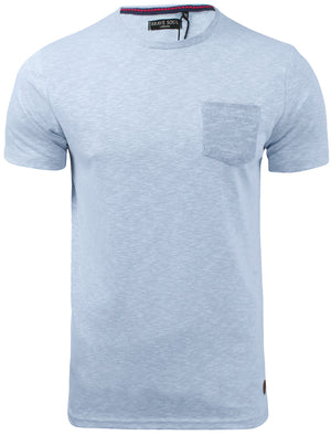 Nixon Space Dye Cotton Slub T-Shirt with Chest Pocket in Blue Marl