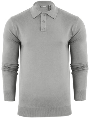 Placket B Long Sleeve Knitted Polo Shirt in Light Grey