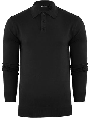 Placket B Long Sleeve Knitted Polo Shirt in Black