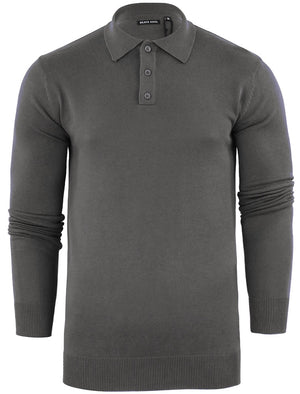 Placket B Long Sleeve Knitted Polo Shirt in Mid Grey