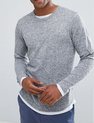 Progba Layered Long Sleeve Soft Melange Top in Grey