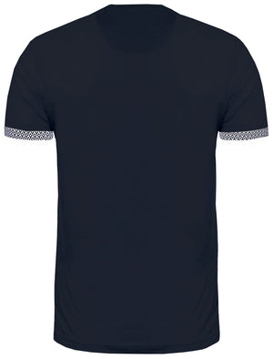 Pyramid Roll Sleeve T-Shirt with Chest Pocket in Navy