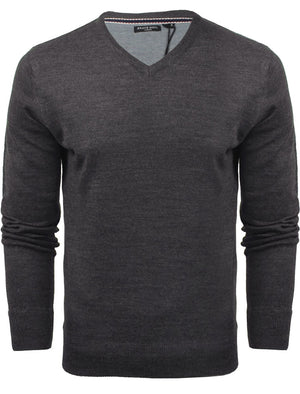 QuazarB V Neck Knitted Jumper in Dark Navy