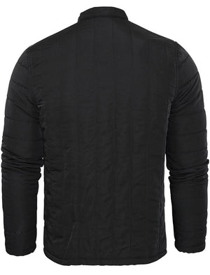 Rajan Zip Through Soft Quilted Biker Jacket in Black