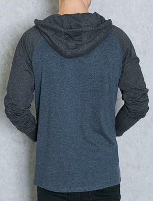 Riviera Raglan Long Sleeve Hooded Top in Navy / Blue