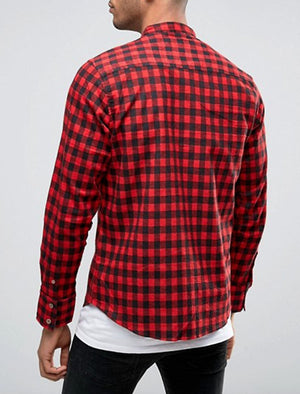 Spirit Long Sleeve Checked Cotton Shirt in Red