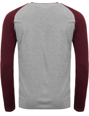 Taveri Skull Motif Long Sleeve Raglan Top in Light Grey Marl / Burgundy