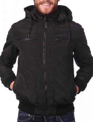 Tilsley Diamond Quilted Jacket with Detachable Hood in Black