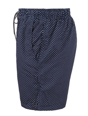 Toby Polka Dot Print Swim Shorts in Navy