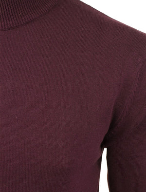 TurtleD High Neck Cotton Knitted Jumper in Elderberry