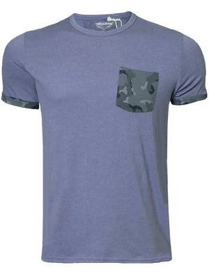 Mens Calvin Camouflage Pocket Detail T-Shirt in Blue Marl