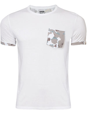 Mens Calvin Camouflage Pocket Detail T-Shirt in White