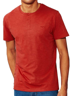 Mens Cody Slub Granddad Style T-Shirt in Red