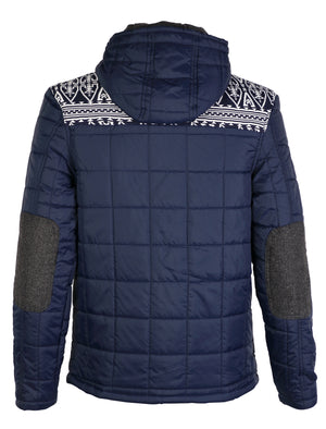 D-code Fair Isle Quilted Duffle navy Jacket