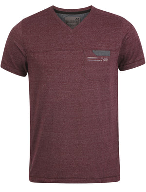 Dissident Grinner V-neck T-Shirt in Oxblood