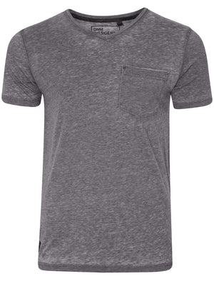 Burn2 Burnout V Neck T-Shirt in Industrial Grey - Dissident